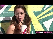 Picture Girls Out West - Amateur cutie touches herse...