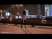Picture Jeny Smith naked in snow fall walking throug...