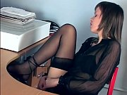 Picture Office babe fingering in sheer stockings and...