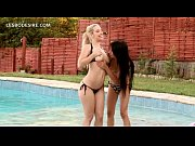 Picture Lesbo blonde licks GFs peachy snatch by the...