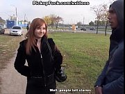Picture Busty redhead blowjob in a park