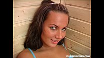 Teen Marylin toy pussy in sauna