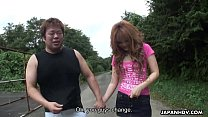 Asian slut got fucked in the field in the outdoors
