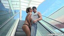 Hot Brunette Model Sucks Cock in Mall