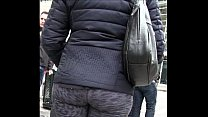 Candid Latina in Yoga Pants Street girl wide hips