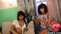 Strippoker with two young russian girls turns i...