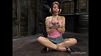 Hogtied - Sarah Blake tied up and made cum over...