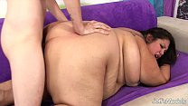 Fatty takes cock into her intimate area and facial