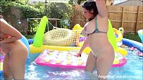 Angelina Castro & Miss Raquel Outdoors pool Masturbation!