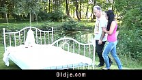Brunette teen is fucking an foreign oldguy in her courtyard