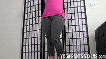 My tight yoga pants really hug my shaved pussy JOI