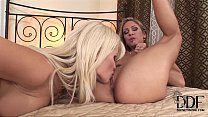 Two horny blonde foot-worshipping lesbian babes...