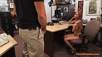 Busty latina sucks Pawnshop owners cock for ext...
