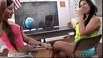 Busty brunette gives handjob to stepbrother of her frind in classroom