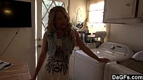 Hottie teen fucked in the kitchen after shopping