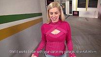 Dude fucks blonde in car repair shop pov