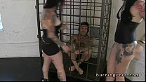 Emo lesbians tribbing in front of caged man