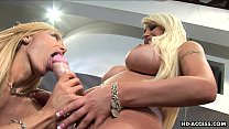 Blonde busty babes play with a strap on