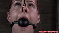 Mouth gagged and nose hooked sub