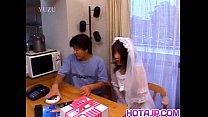 Nami in wedding dress sucks cock