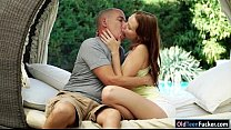 Czech Chelsea Sun sucking off and is riding on grandpas cock