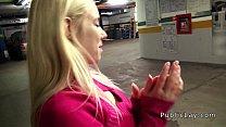 Dude fucks blonde babe in repair shop pov