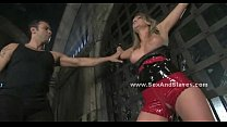 Blonde diva teached to behave by pervert stucke...