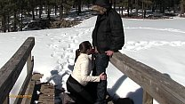 Azzurra is giving a blowjob outdoors :) No permit required to suck cock!