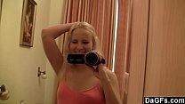 Young blonde masturbates in front her mirror