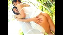 2 Girls In White Dresses Kissing Passionately Rubbing Their Tits In The Garden