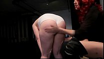 Blonde babe spanked and bound in femdom threesome