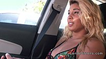 Beautiful tanned teen banged in the car