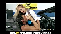 Busty blonde saleswoman Brynn Tyler makes a sale & rides big-dick