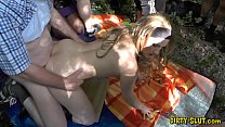 Hot amateur slut Nicole gangbanged by plenty of...
