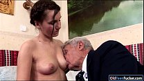 Teen Dia sucking cock of an old grandpa