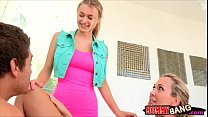 Two lusty big tits women Natalia and Brandi fucked on turns
