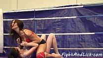 Bigtitted dyke wrestling with babe