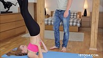 BF rips teen gf yoga pants to fuck her hard