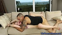 Bound teen babe fed spunk
