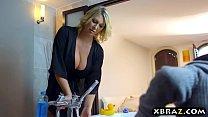 Huge boobs mom fucks her sons friend after they went out