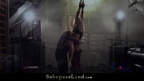 Submissive girlfriend tied and punished with bdsm paddle