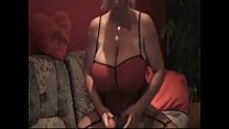 Blonde with monster huge breasts playing with d...