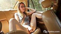 Skinny Sierra Masturbating On The Backseat