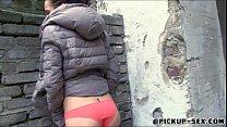 Real amateur Czech slut Emily flashes her tits ...