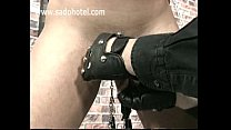 BDSM slave girl getting pussylips stretched by some weights