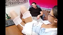 Petite secretary has sex in stockings and a garter