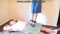 Miss Laurie extreme high heels cock and balls destruction