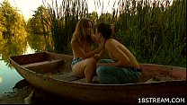 Teen couple having sex in the boat