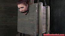 Mouth gagged sub being disciplined