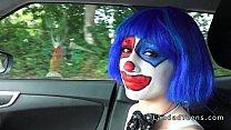 Stranded teen clown fucked in public pov